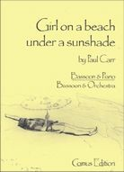 Carr: Girl on a beach under a sunshade for Bassoon published by Comus