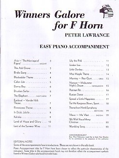 Winners Galore Piano Accompaniment  for French Horn published by Brasswind