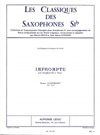 Schubert: Impromptu for Tenor Saxophone published by Leduc