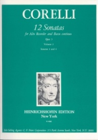 12 Sonatas Opus 5 Volume 2 for Treble Recorder by Corelli published by Heinrichshofen