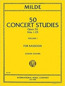 50 Concert Studies Opus 26 Volume 1 by Milde for Bassoon published by IMC