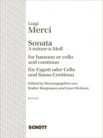 Sonata in A Minor Opus 3/6 for Bassoon or Cello by Merci published by Schott