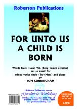 Cunningham: For Unto Us A Child Is Born SA/Men published by Roberton