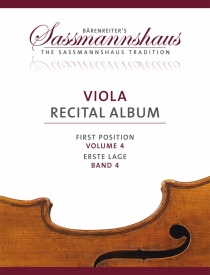 Sassmannshaus Viola Recital Album Volume 4 published by Barenreiter