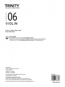 Trinity Violin Exam Pieces - Grade 6 (2020-2023) (Part Only)