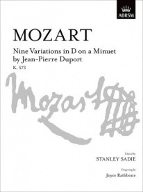 9 Variations in D on a Minuet by Jean Pierre Duport K573 by Mozart for Piano published by ABRSM