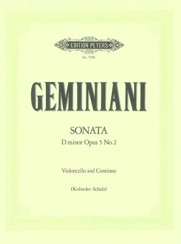 Geminiani: Sonata in D Minor Opus 5/2 for Cello published by Peters