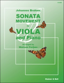 Brahms: Sonata Movement (Sonatensatz,1853) for Viola published by Stainer & Bell