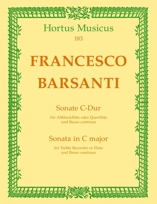 Barsanti: Sonata in C Opus 1/2 for Treble Recorder published by Barenreiter