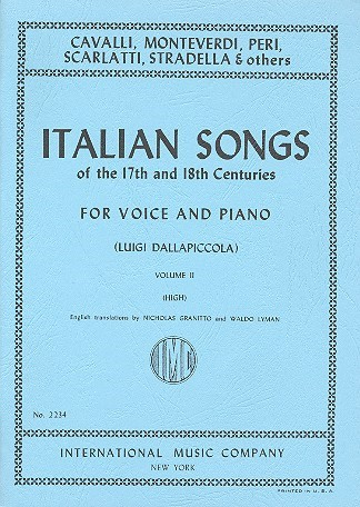 Italian Songs of the 17th & 18th Centuries Volume 2 High published by IMC