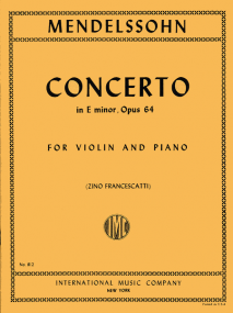 Mendelssohn: Concerto in E Minor Opus 64 for Violin published by IMC