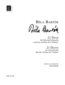 21 Duos for Viola and Cello by Bartok published by Universal Edition
