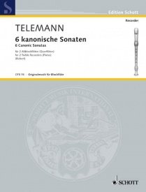 6 Canonic Sonatas for 2 Treble Recorders by Telemann published by Schott