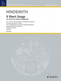 9 Short Songs for 1 - 4 Voices by Hindemith published by Schott