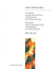 Bach: 4 Duets (Clavierubung) for Violin and Viola published by Breitkopf
