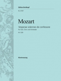 Vesperae Solennes de Confessore K339 - Vocal Score by Mozart published by Breitkopf and Hartel