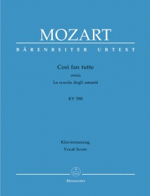 Mozart: Cosi fan tutte (complete opera) (K588) published by Barenreiter Urtext - Vocal Score