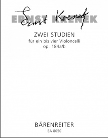 Krenek: Two Studies Opus 184a/b for 1 - 4 Cellos published by Barenreiter