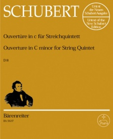 Overture in C minor D8 for String Quintet by Schubert published by Barenreiter