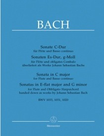 3 Sonatas BWV1033, 1031, 1020 BA5220 by Bach for Flute published by Barenreiter