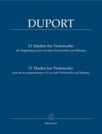 21 Etudes by Duport for Cello published by Barenreiter