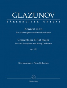 Glazunov: Concerto for Alto Saxophone Opus 109 published by Barenreiter