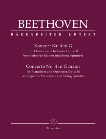 Beethoven: Concerto for Piano No.4 in G arranged for Piano & String Quintet published by Barenreiter