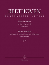 Beethoven: 3 Sonatas for Piano in G, D Minor & Eb Opus 31 published by Barenreiter