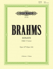 Brahms: Sonata in F minor Opus 34b for Two Pianos published by Peters