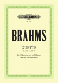 14 Duets for Soprano and Alto by Brahms published by Peters