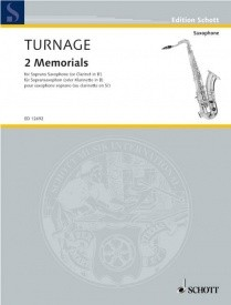 Turnage: 2 Memorials for Solo Soprano Saxophone or Clarinet published by Schott