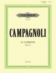 Campagnoli: 41 Caprices Opus 22 for Solo Viola published by Peters
