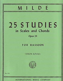25 Studies in Scales and Chords Opus 24 by Milde for Bassoon published by IMC