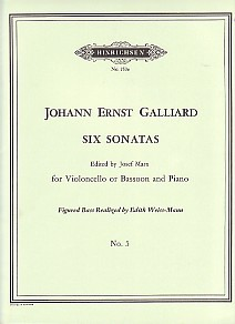 Sonata No 4 in E Minor  by Galliard for Bassoon published by Hinrichsen