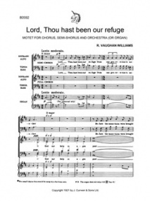 Lord, Thou Hast Been Our Refuge SATB/Organ by Vaughan-Williams published by Curwen