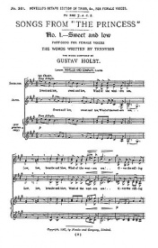 Songs From The Princess Opus 20 SSAA by Holst published by Novello