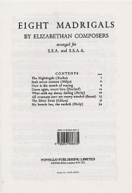 Eight Madrigals By Elizabethan Composers published by Novello