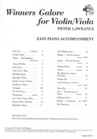 Winners Galore Piano Accompaniment for Violin or Viola published by Brasswind