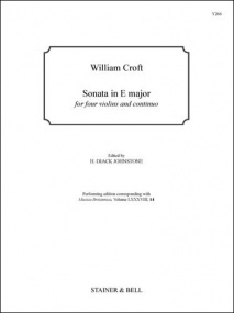 Croft: Sonata in E major for Four Violins and Continuo published by Stainer & Bell