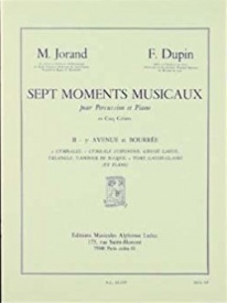 Jorand & Dupin : 7 Moments musicaux Vol.2: Avenue & Bourrée (Percussion & Piano) published by Leduc