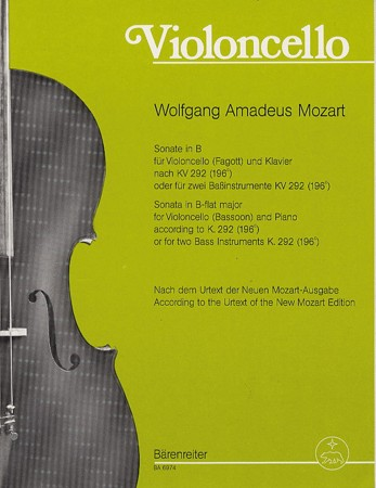 Mozart: Sonata in Bb K292 for Basson & Cello published by Barenreiter