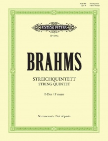 Brahms: String Quintet in F Opus 88 published by Peters