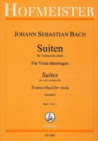 Bach: 6 Suites for Cello transcribed for Viola Volume 1 published by Hofmeister