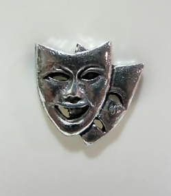 Pewter Pin Badge - Drama Masks