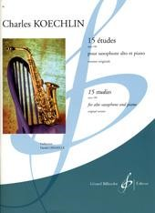 15 Etudes Opus 188 for Saxophone by Koechlin published by Billaudot