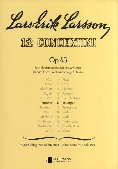Larsson Concertino Opus 45/4 for Bassoon published by Gehrmans