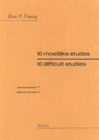 10 Difficult Studies by Keuning for Descant Recorder published by Harmonia