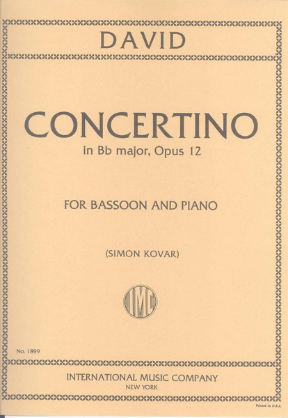 David: Concertino Opus 12 for Bassoon published by IMC