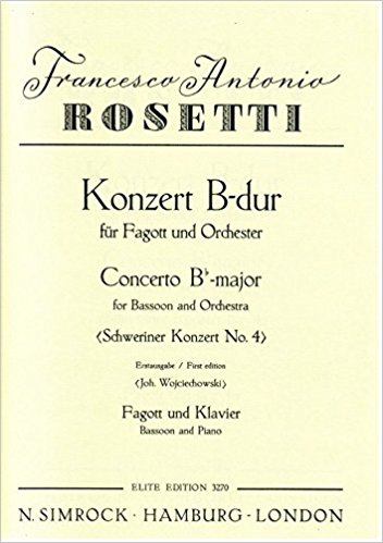 Rosetti: Schweriner Concerto No 4 for Bassoon published by Simrock