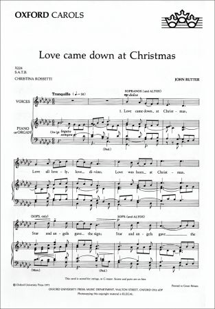 Love came down at Christmas by Rutter published by Oxford University Press (OUP)
